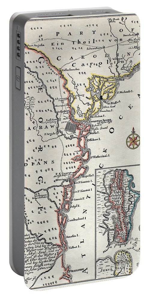 18th Century Portable Battery Charger featuring the painting Map: North America, C1700 by Granger
