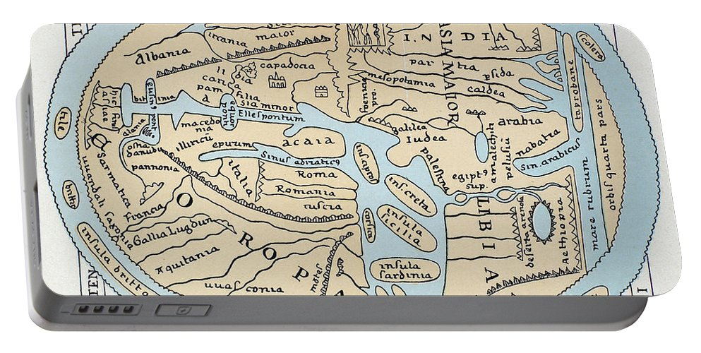 2nd Century Portable Battery Charger featuring the painting World Map 2nd Century by Granger
