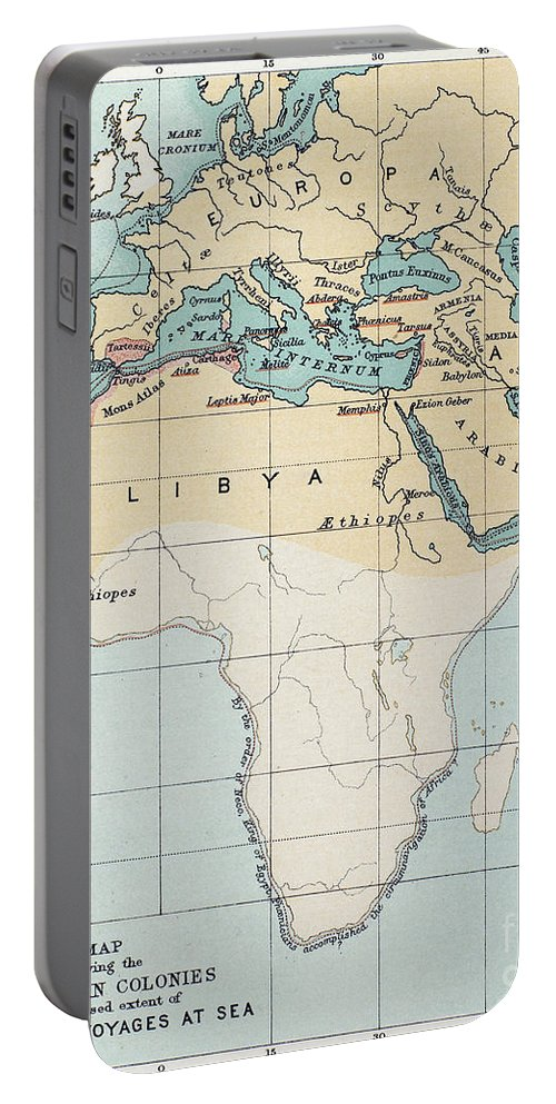 1st Millennium Bc Portable Battery Charger featuring the painting Map: Phoenician Empire by Granger