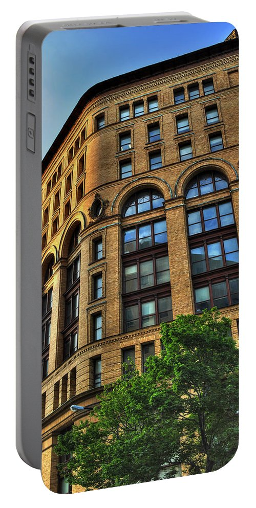 Dunn Building Portable Battery Charger featuring the photograph 01 Dunn Building At Sunrise by Michael Frank Jr