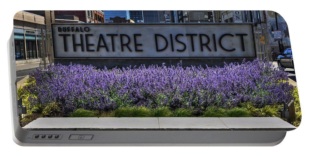 Buffalo Portable Battery Charger featuring the photograph 01 Plaza Of Stars Buffalo Theatre District by Michael Frank Jr
