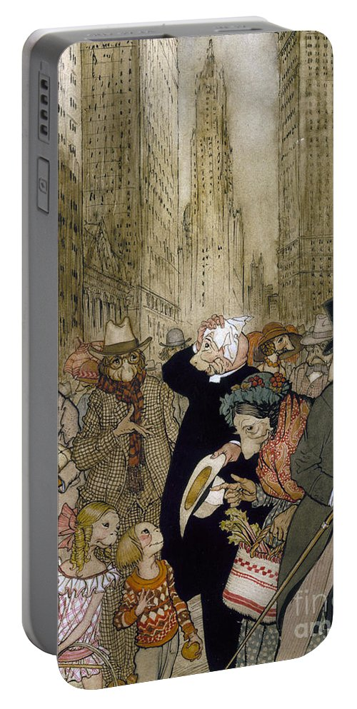1924 Portable Battery Charger featuring the painting Rackham: City, 1924 by Granger
