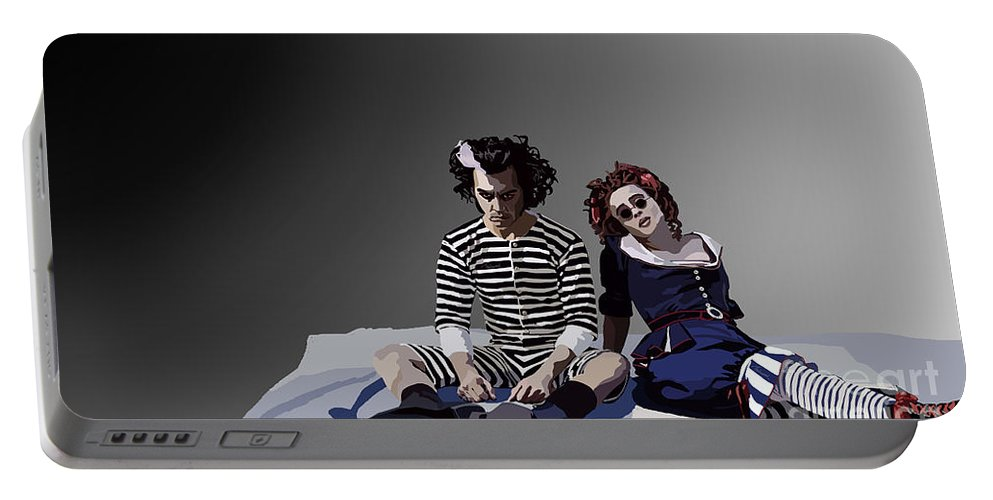 Tamify Portable Battery Charger featuring the painting 012. The Closest Shave You by Tam Hazlewood