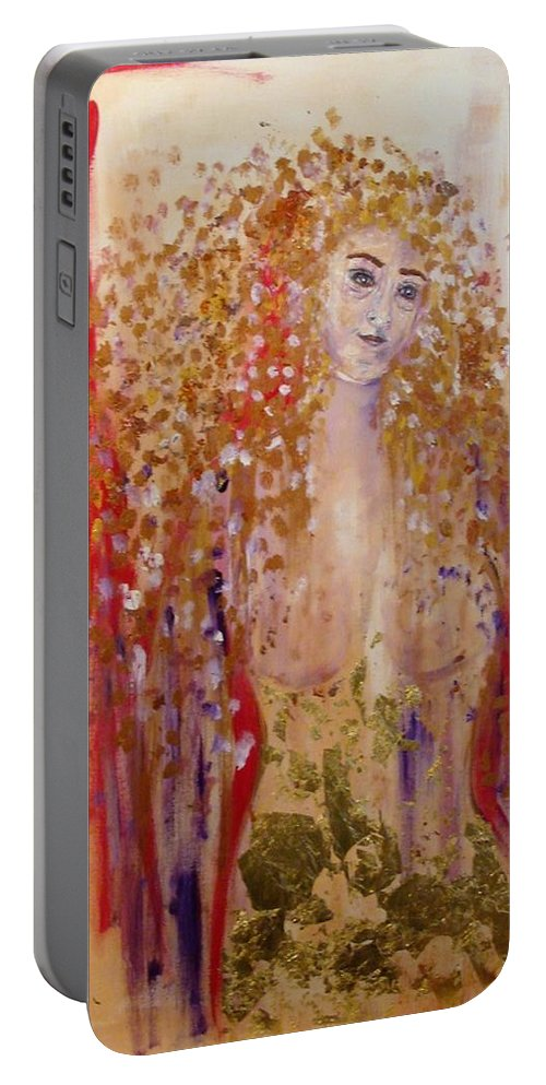 Abstract Portable Battery Charger featuring the painting 01252016.12 by BJ Talor