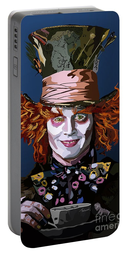 Tamify Portable Battery Charger featuring the painting 015. What Can You Do by Tam Hazlewood