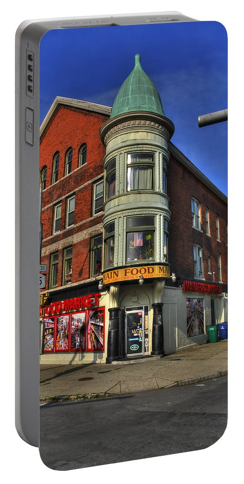 Buffalo Portable Battery Charger featuring the photograph 04 Main Food Market Early Morning by Michael Frank Jr