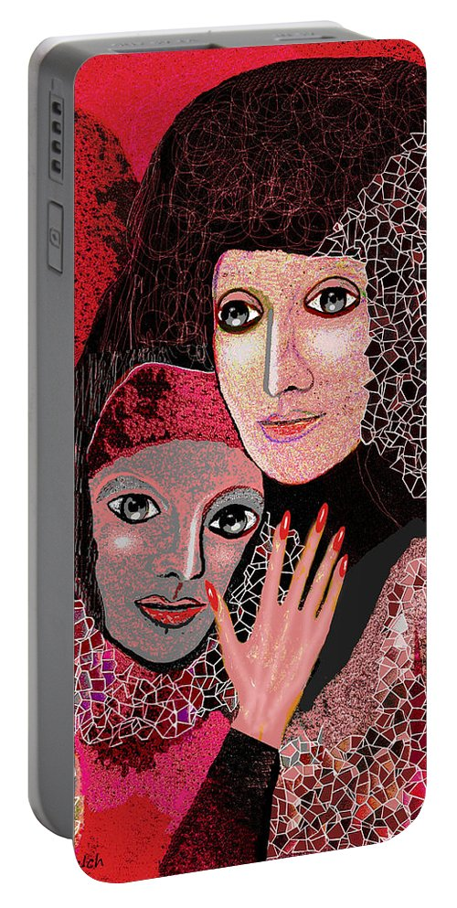 047  To Lean On V  Stretched Canvas Print Portable Battery Charger featuring the painting 047 Friendship - To Lean On V by Irmgard Schoendorf Welch