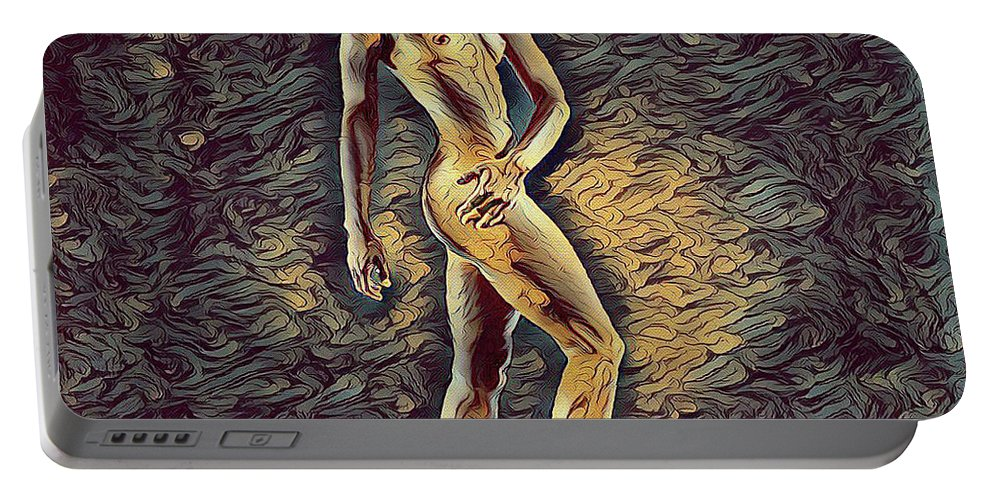Fit Portable Battery Charger featuring the digital art 0957s-zac Fit Black Dancer Standing On Platform by Chris Maher