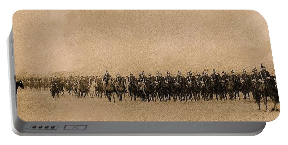 180 Degrees Panorama Troops Passing In Review No Date Or Locale Restored Color Added 2008 Portable Battery Charger featuring the photograph 180 Degrees Panorama Troops Passing In Review No Date Or Locale Restored Color Added 2008 by David Lee Guss