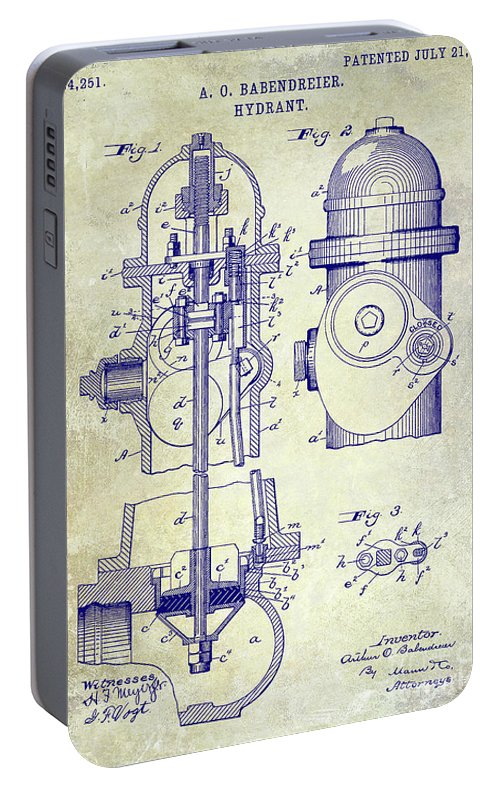 Fire Patent Drawing Portable Battery Charger featuring the photograph 1903 Fire Hydrant Patent by Jon Neidert