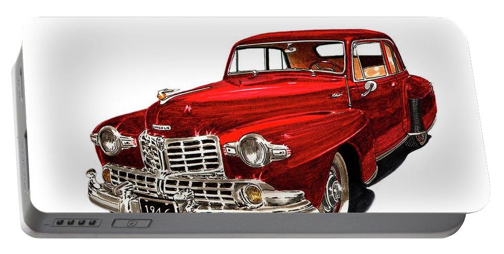 Framed Prints Of Lincoln Continentals. Framed Canvas Prints Of Art Of Famous Lincoln Cars. Framed Prints Of Lincoln Car Art. Framed Canvas Prints Of Great American Classic Cars Portable Battery Charger featuring the painting 1946 Lincoln Continental Mk I by Jack Pumphrey