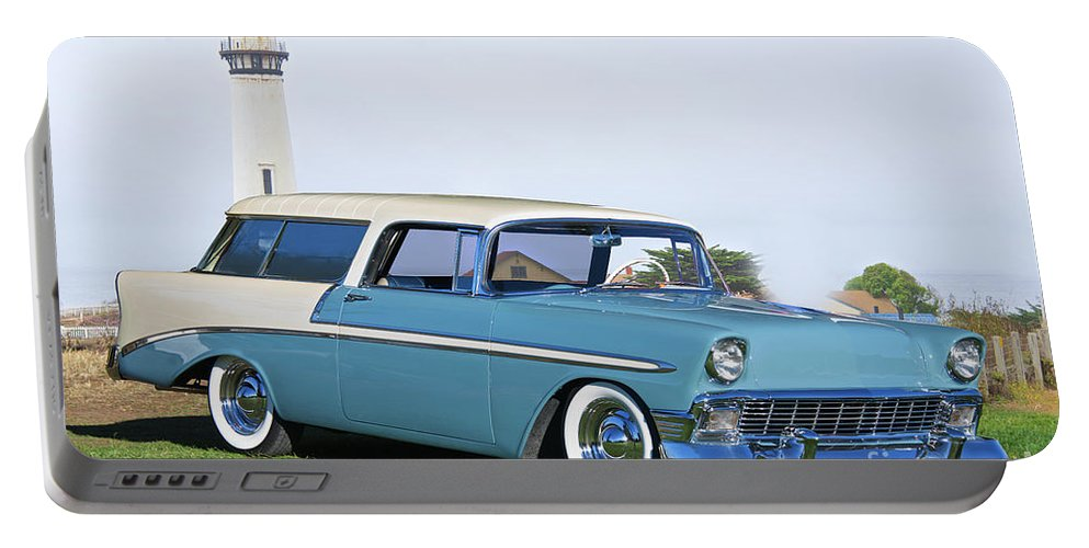 Automobile Portable Battery Charger featuring the photograph 1956 Chevrolet Bel Air Nomad Wagon by Dave Koontz