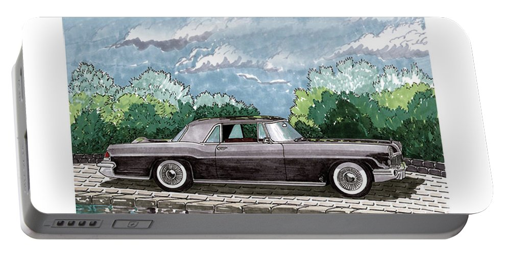 Framed Prints Of Lincoln Continentals. Framed Canvas Prints Of Art Of Famous Lincoln Cars. Framed Prints Of Lincoln Car Art. Framed Canvas Prints Of Great American Classic Cars Portable Battery Charger featuring the painting 1956 Lincoln Continental Mk II by Jack Pumphrey