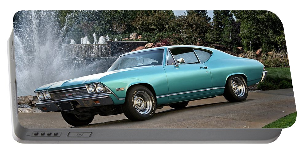 Automobile Portable Battery Charger featuring the photograph 1968 Chevelle Malibu II by Dave Koontz
