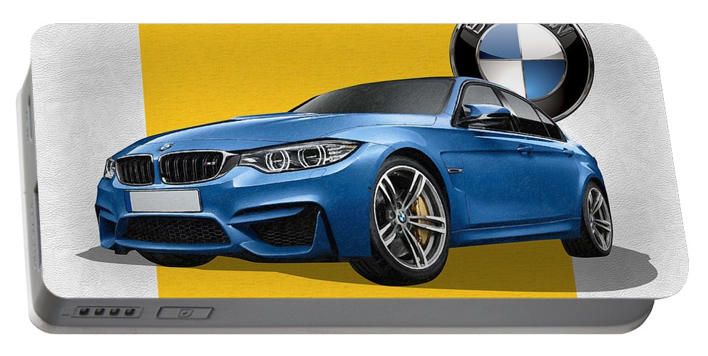�bmw� Collection By Serge Averbukh Portable Battery Charger featuring the photograph 2016 B M W M 3 Sedan with 3 D Badge by Serge Averbukh
