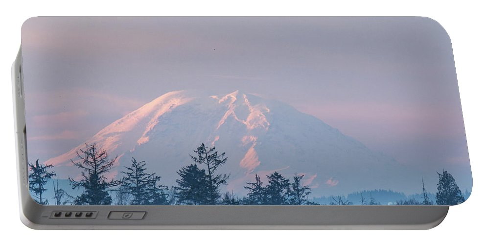 Cascades Portable Battery Charger featuring the photograph 2018_3_17 Sunrise Mt. Rainier-6233 by Roger Patterson