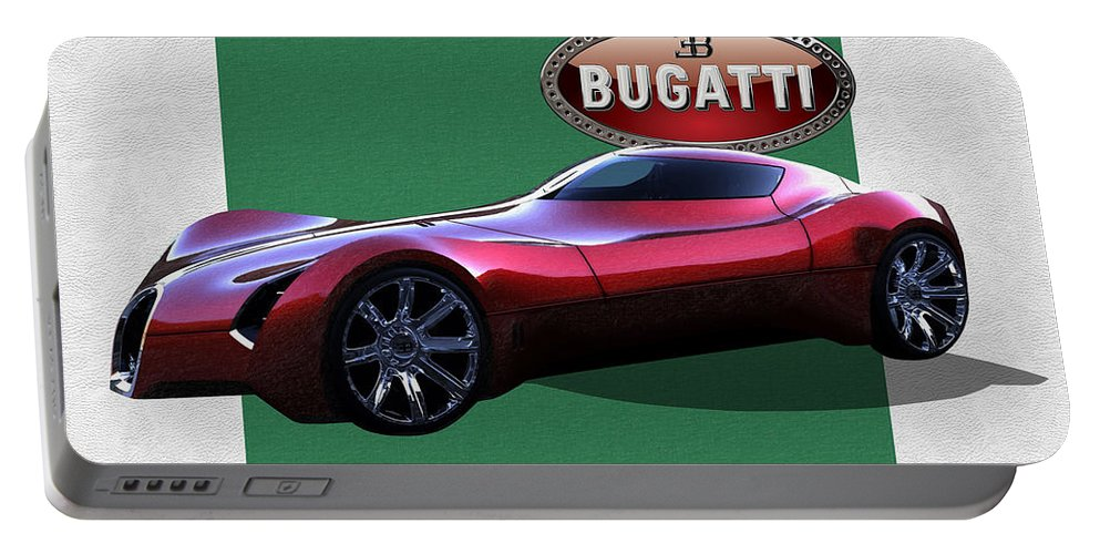 �bugatti� By Serge Averbukh Portable Battery Charger featuring the photograph 2025 Bugatti Aerolithe Concept with 3 D Badge by Serge Averbukh