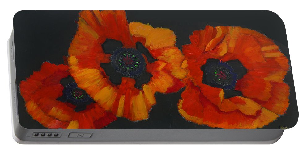 Flowers Portable Battery Charger featuring the painting 3 Poppies by Richard Le Page