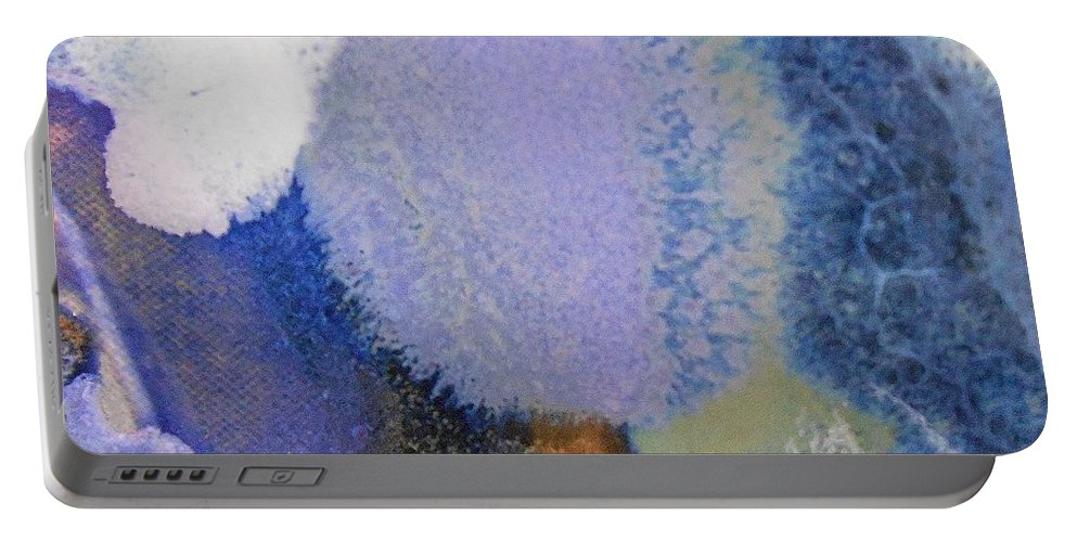 Abstract Portable Battery Charger featuring the painting 44. Blue Purple White Glaze Painting by Maggie Minor