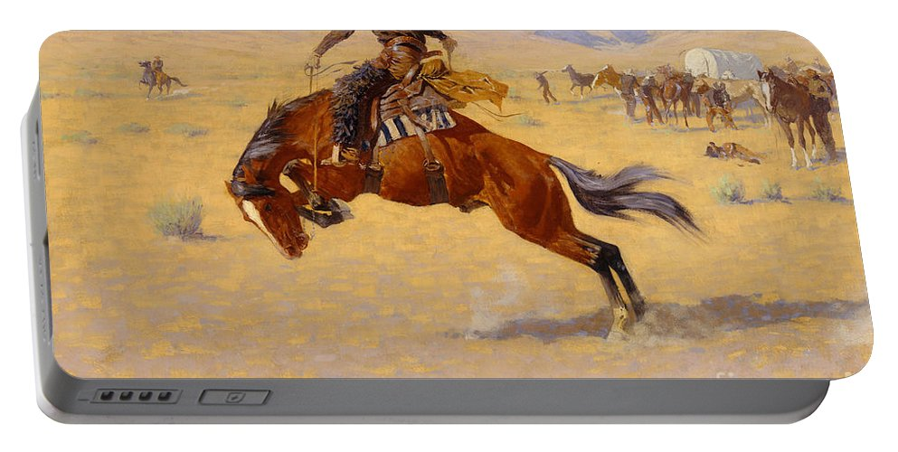 Cowboy; Horse; Pony; Rearing; Bronco; Wild West; Old West; Plain; Plains; American; Landscape; Breaking; Horses; Snow-capped; Mountains; Mountainous Portable Battery Charger featuring the painting A Cold Morning on the Range by Frederic Remington