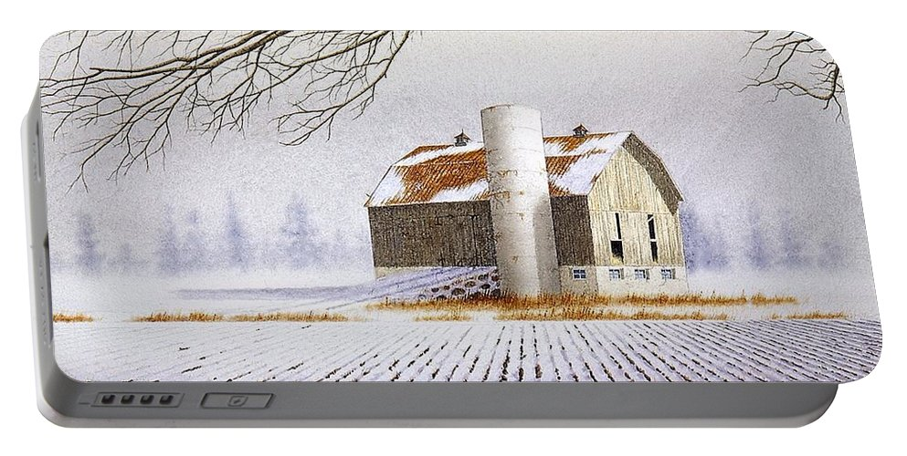 Rural Portable Battery Charger featuring the painting A Far Distant Feeling by Conrad Mieschke
