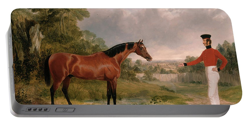 John Frederick Herring (senior) 1795 � 1865 A Horse And A Soldier Portable Battery Charger featuring the painting A Horse And A Soldier by MotionAge Designs