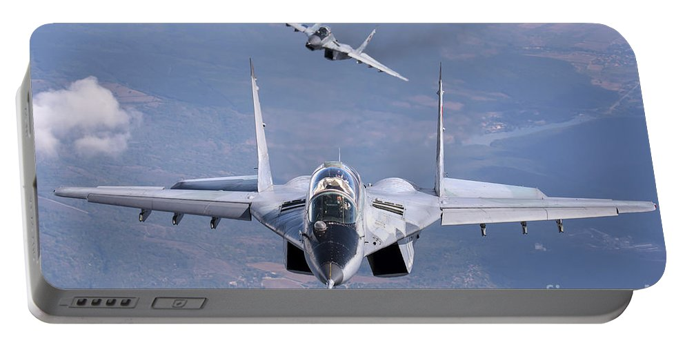 Horizontal Portable Battery Charger featuring the photograph A Pair Of Bulgarian Air Force Mig-29s by Daniele Faccioli