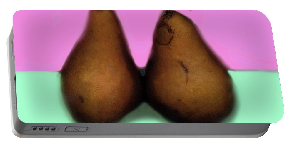 Pear Portable Battery Charger featuring the digital art A Pair Of Pears by Madeline Ellis