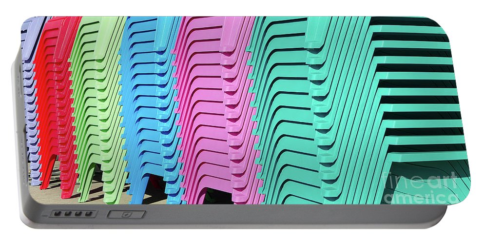 Chair Portable Battery Charger featuring the photograph A Rainbow Of Chairs by Craig McCausland