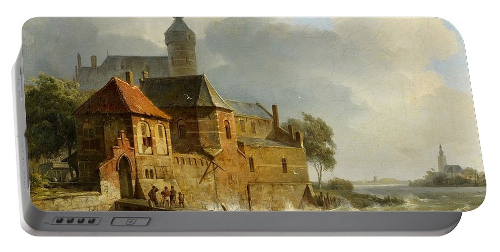 Cornelis Springer Hermanus Koekkoek Portable Battery Charger featuring the painting A Rowing Boat In Stormy Seas Near A City by MotionAge Designs
