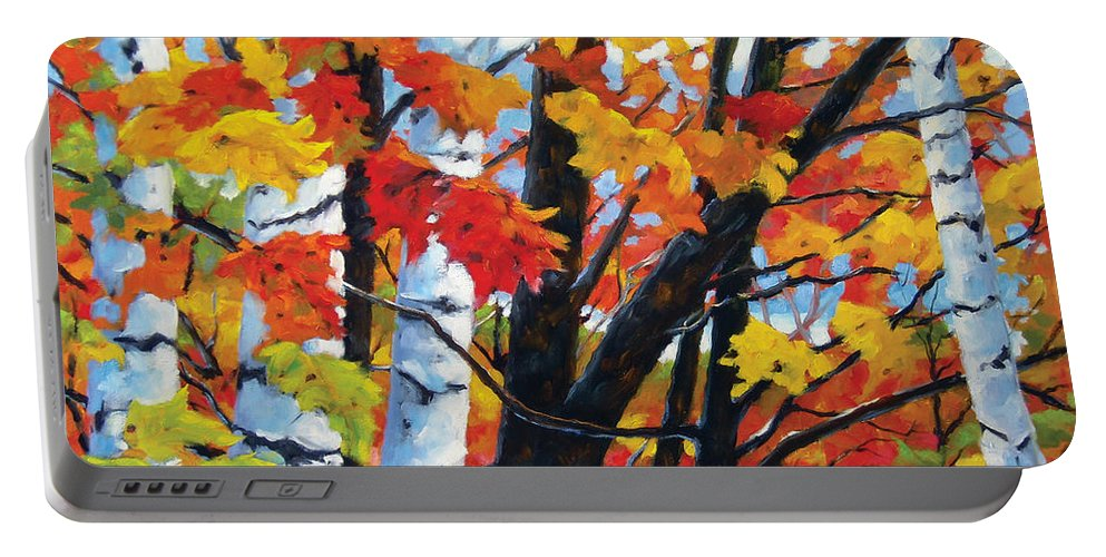 Art Portable Battery Charger featuring the painting A Touch Of Canada by Richard T Pranke