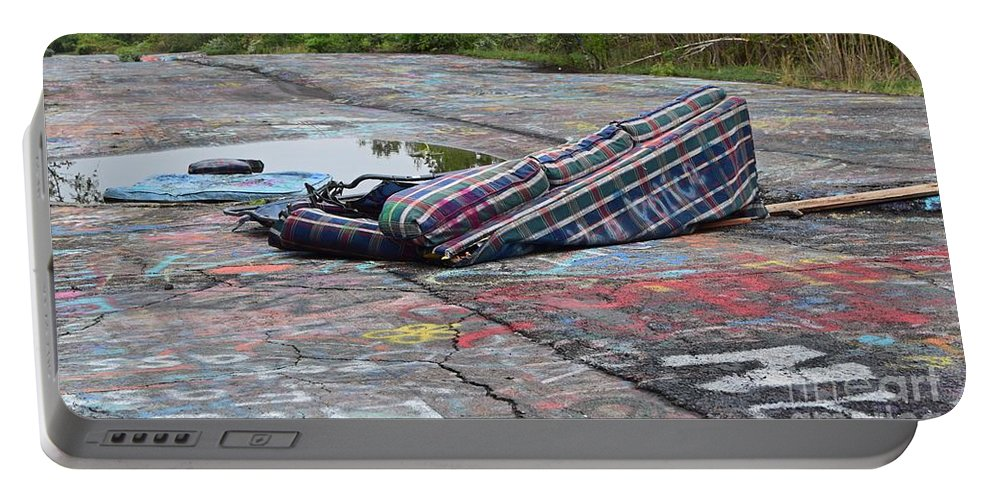 May Portable Battery Charger featuring the photograph Abandoned Couch On The Graffiti Highway by Ben Schumin