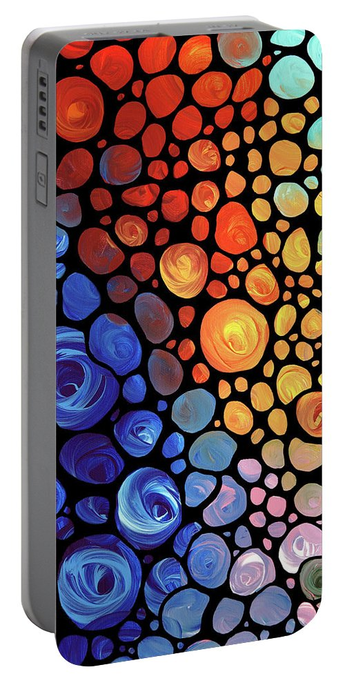 Abstract Portable Battery Charger featuring the painting Abstract 1 by Sharon Cummings