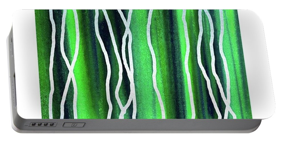 Abstract Line Portable Battery Charger featuring the painting Abstract Lines On Green by Irina Sztukowski