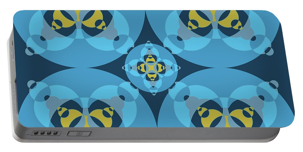 Mixedmediaart Portable Battery Charger featuring the digital art Abstract Mandala Cyan, Dark Blue And Yellow Pattern For Home Decoration by Drawspots Illustrations