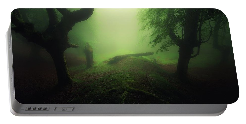 Horror Portable Battery Charger featuring the photograph Abyss by Mikel Martinez de Osaba