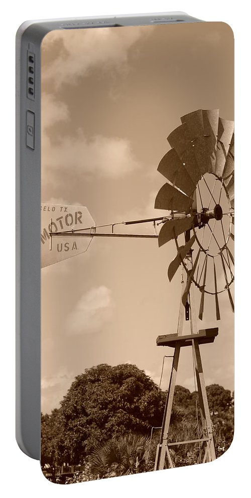 Sepia Portable Battery Charger featuring the photograph Aermotor Windmill by Rob Hans