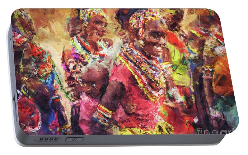 African Portable Battery Charger featuring the digital art African Woman by Phil Perkins