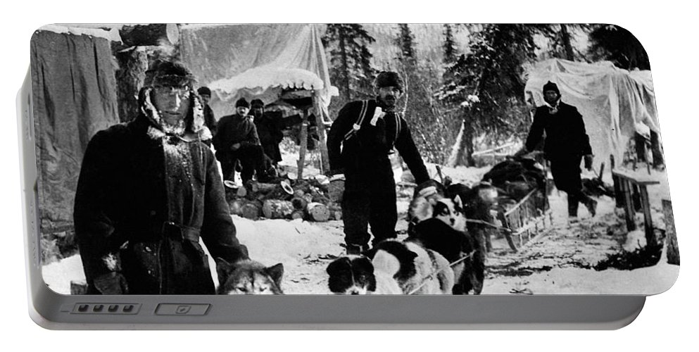 1900 Portable Battery Charger featuring the photograph Alaskan Dog Sled, C1900 by Granger