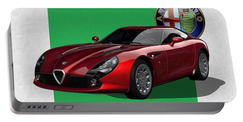 �alfa Romeo� By Serge Averbukh Portable Battery Charger featuring the photograph Alfa Romeo Zagato T Z 3 Stradale With 3 D Badge by Serge Averbukh
