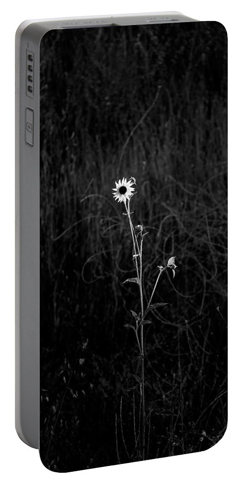 Black & White Portable Battery Charger featuring the photograph Alone by Peter Tellone