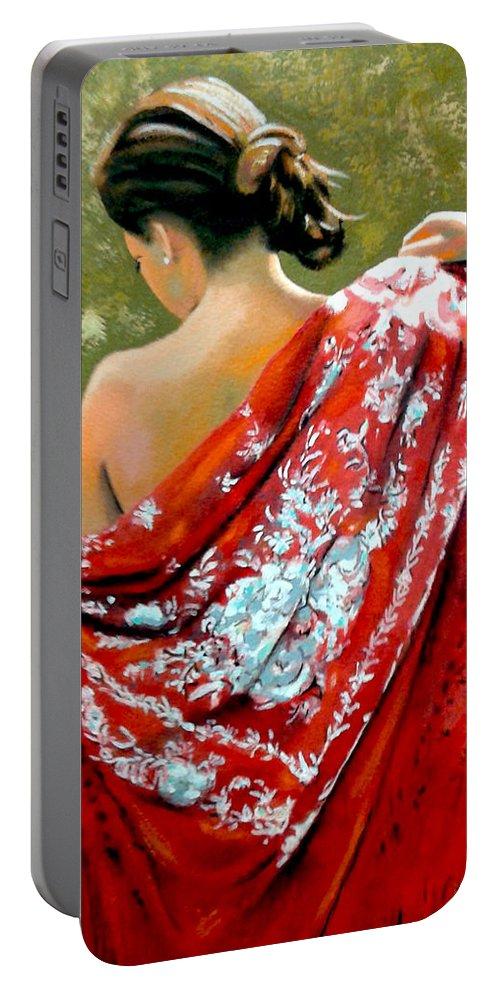 Red Portable Battery Charger featuring the painting aly by Jose Manuel Abraham