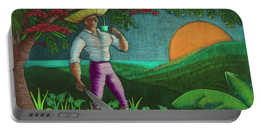 Puerto Rico Portable Battery Charger featuring the painting Amanecer en Borinquen by Oscar Ortiz