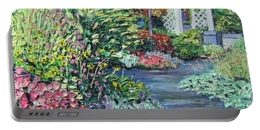 Garden Portable Battery Charger featuring the painting Amelia Park Pathway by Richard Nowak