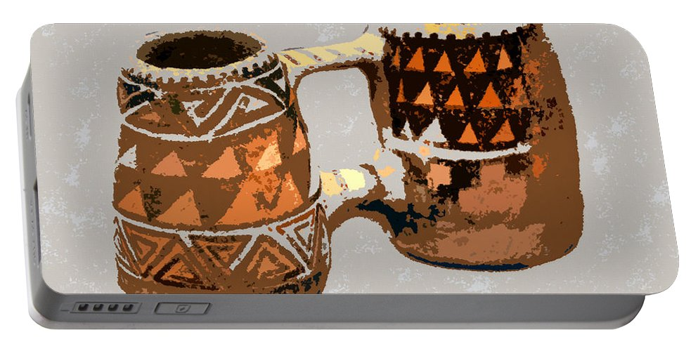 Double Mug Portable Battery Charger featuring the painting Anasazi Double Mug by David Lee Thompson