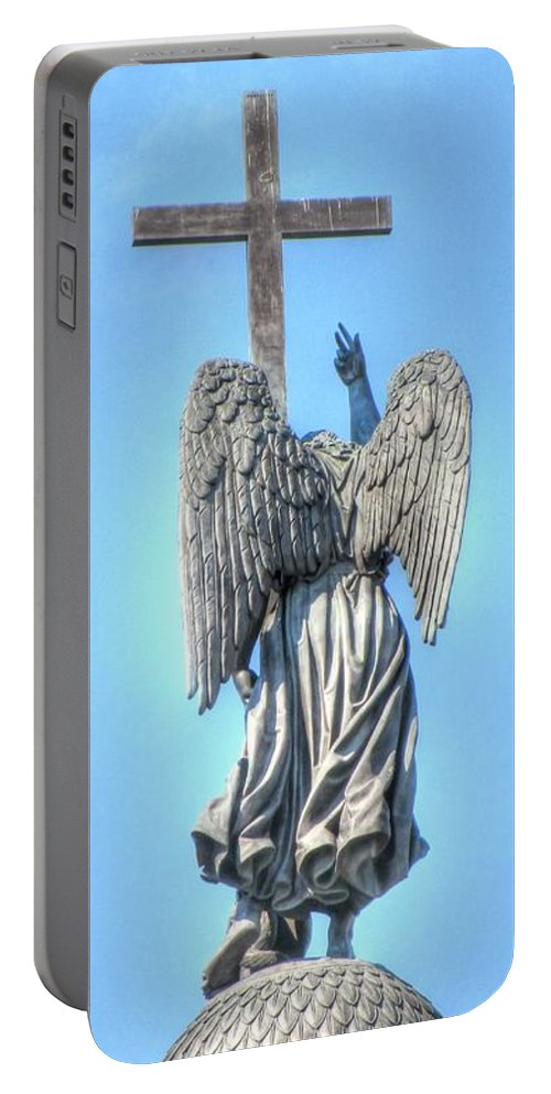 Angel Portable Battery Charger featuring the pyrography Angel by Yury Bashkin