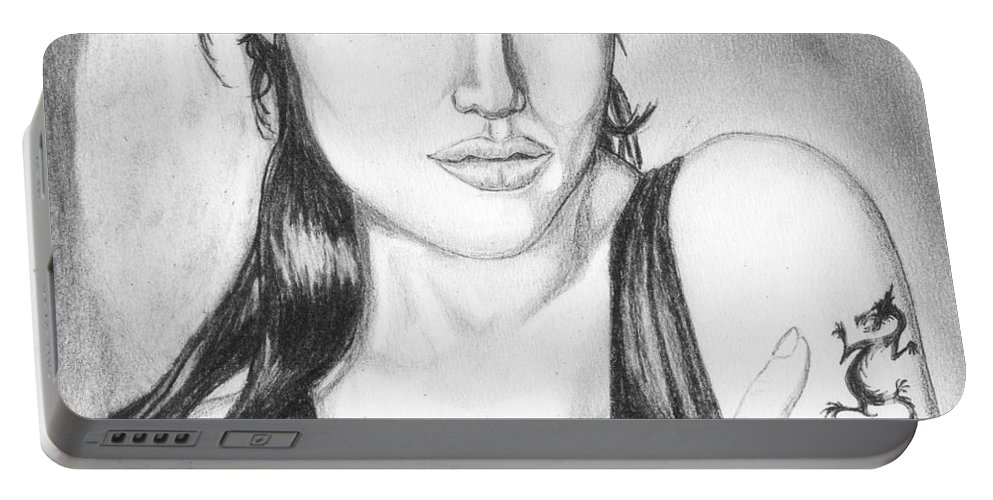 Portrait Portable Battery Charger featuring the drawing Angelina Jolie Portrait by Alban Dizdari