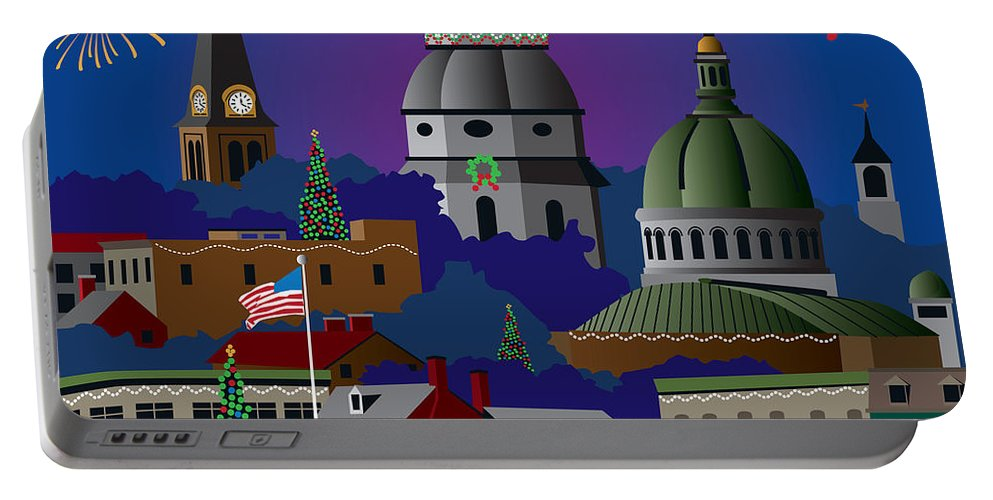 Holiday Portable Battery Charger featuring the digital art Annapolis Holiday by Joe Barsin