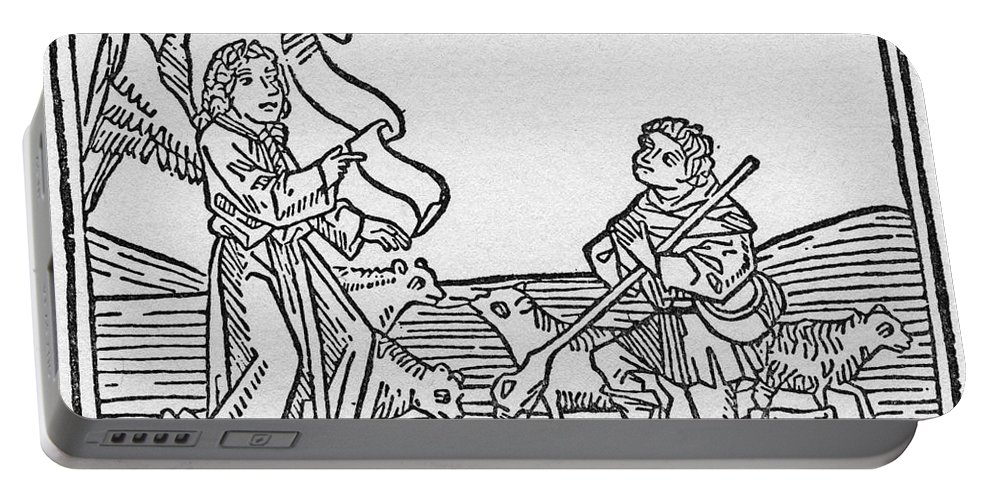 15th Century Portable Battery Charger featuring the drawing Annunciation To Shepherds by Granger