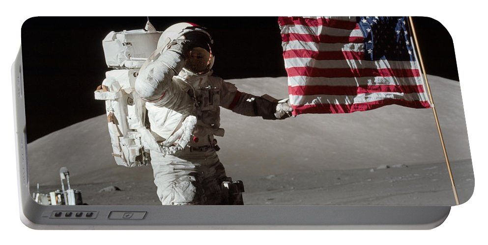 1972 Portable Battery Charger featuring the photograph Apollo 17 Astronaut Salutes The United by Stocktrek Images